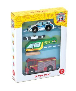 TV465-Emergency-Wooden-Vehicles-Police-Car-Helicopter-Fire-Truck-Packaging